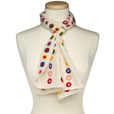 French Dot Pattern Silk Scarf - Ecru