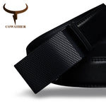 COWATHER Etched Black Buckle on Black leather belt