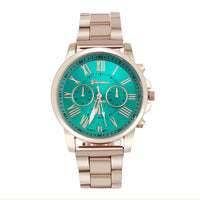Colourful Women's Large Dial with Roman Numerals,  Stainless Steel Quartz Watch