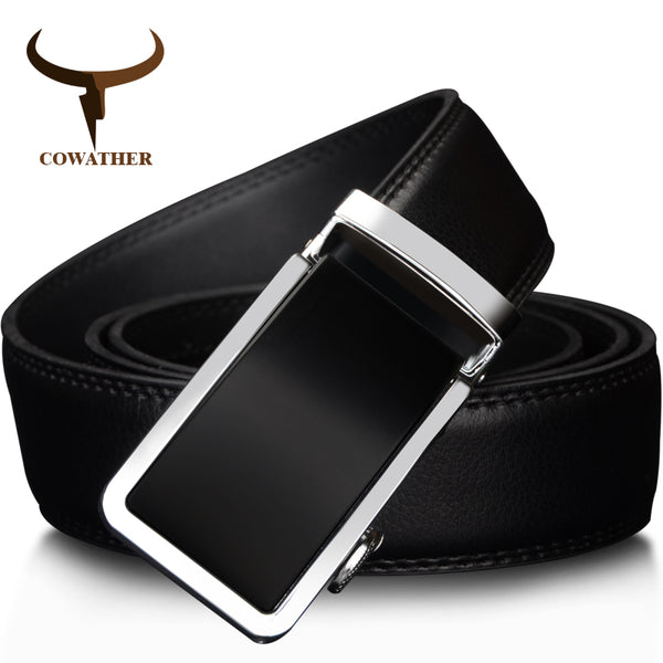 COWATHER 2017 Silver Trim Automatic Buckle Genuine Leather Belt - Abbey and Holmes Global Emporium