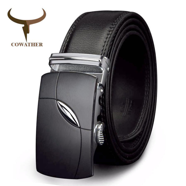 COWATHER 2017 Arcs Black Buckle Leather Belt