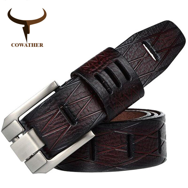 COWATHER 2017 genuine leather men's belt with flat pin buckle