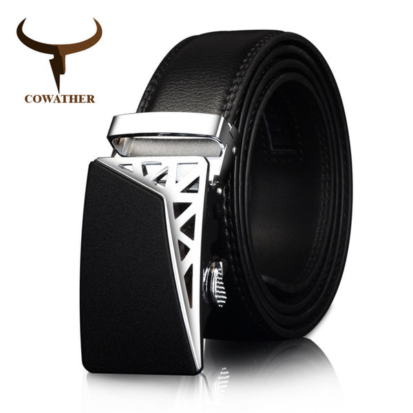 COWATHER Black and Silver Metal Automatic Ratchet Buckle