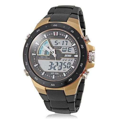 Men's Dual Time Zones Multifunctional Analog-Digital Sporty Wrist Watch