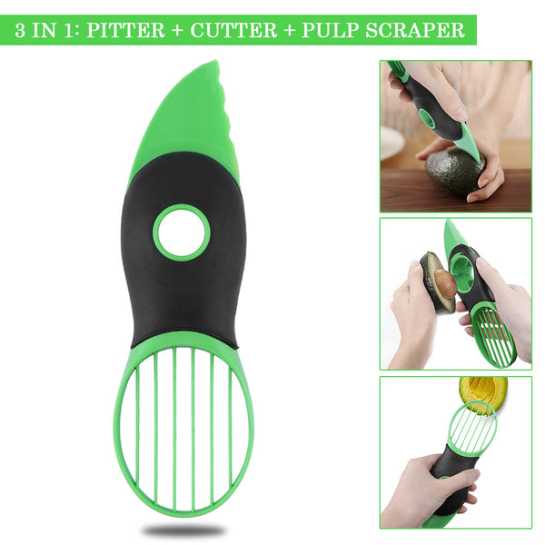 3 in 1 Avocado Pitter Slicer - Abbey and Holmes Global Emporium