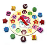 Wooden Clock with Removal Numbers Puzzle - Early Learning Toy