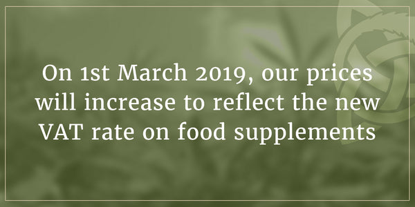 Important Notice to Customers: 23% VAT on Food Supplements from 1st March 2019