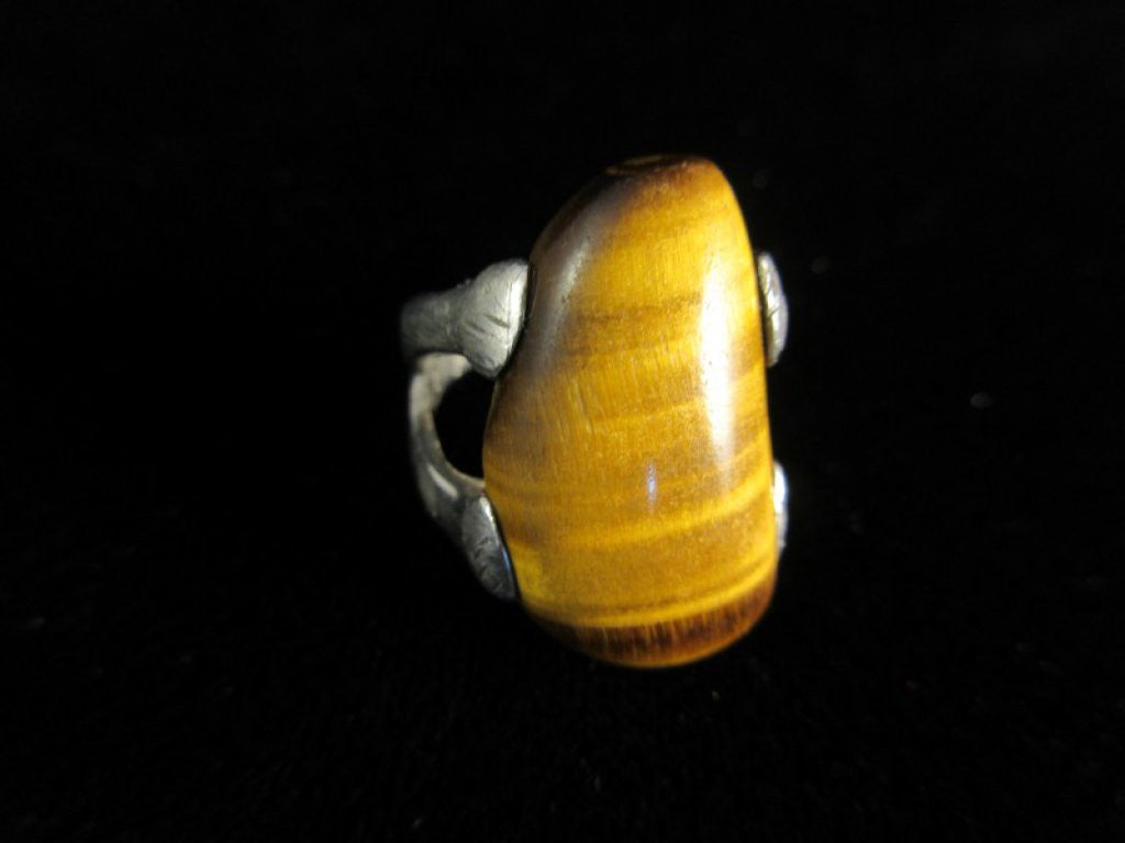 Vintage Large Tiger Eye Stone Sterling Silver Ring Size 5