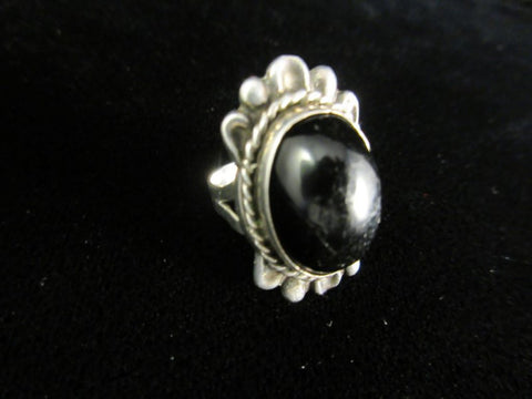 Silver Mexico Black Onyx Ring