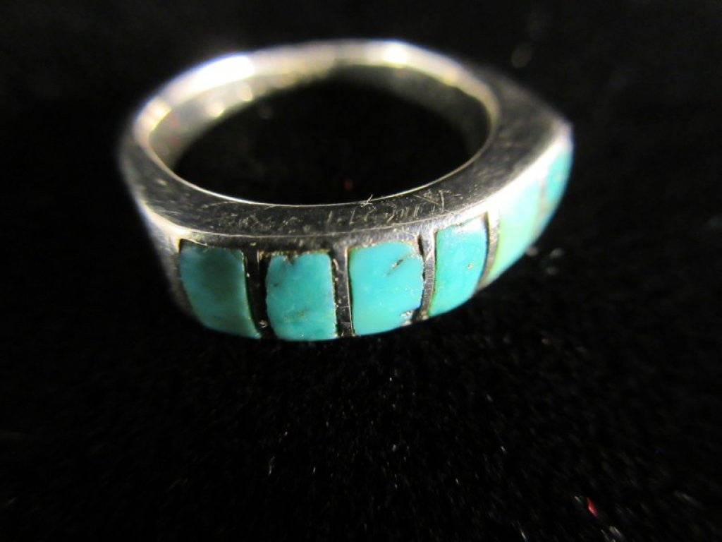Size 6 Turquoise Inlay Sterling Silver Ring Vintage