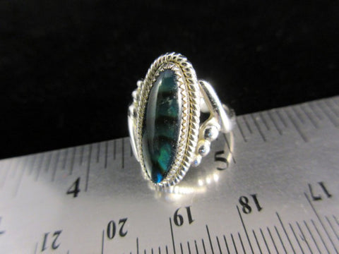 Vintage Sterling Silver Ring Green and Black Stone Size 5