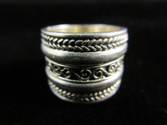 Wide Band Style Sterling Silver Ring Size 5