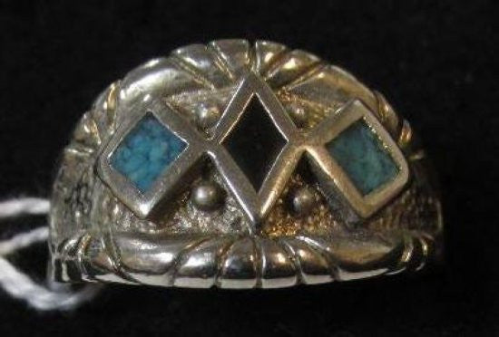 Turquoise Ring Size 12 1/2 Sterling Silver