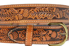 Men's Leather Belt with Acorn Design