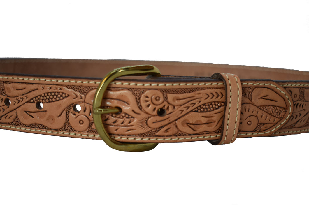 Men's Western Full Grain Floral Engraved Leather Belt