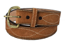 Western Leather Belt with Figure 8 Embroidered Design