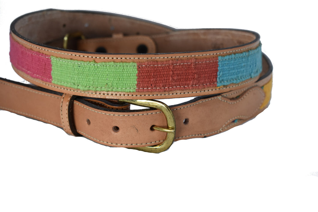 Children's Leather Belt with Dark Woven Design
