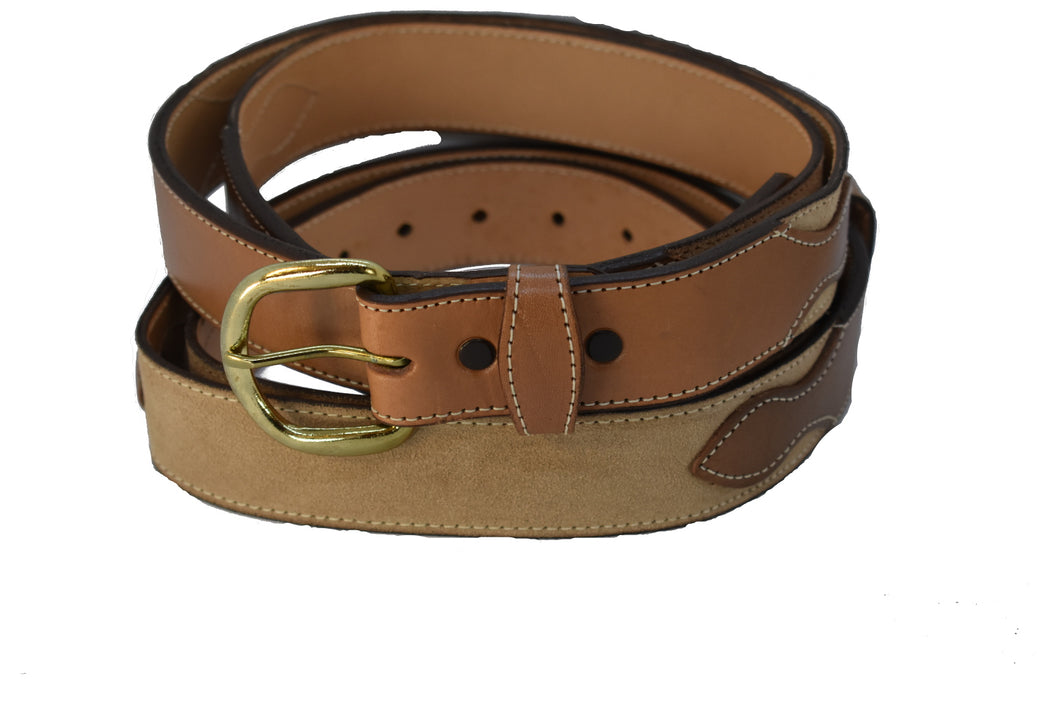 Two Tone Top Grain and Leather Belt