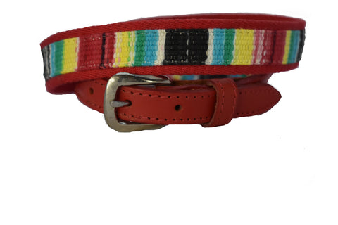 Children's Red Woven Multi-color Belt