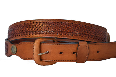 Men's Leather Basket Weave Belt
