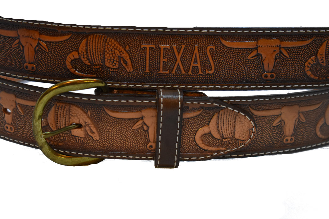 Men's Texas Engraved Genuine Leather Belt