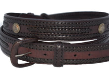 Men's Genuine Leather Braided Belt with Conchos