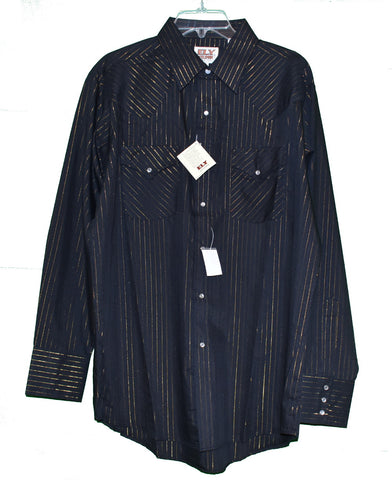 Ely Cattleman Gold Stripe Black Western Shirt