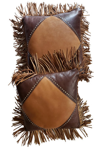 Bohemian-Style Leather Pillows with Leather Fringes