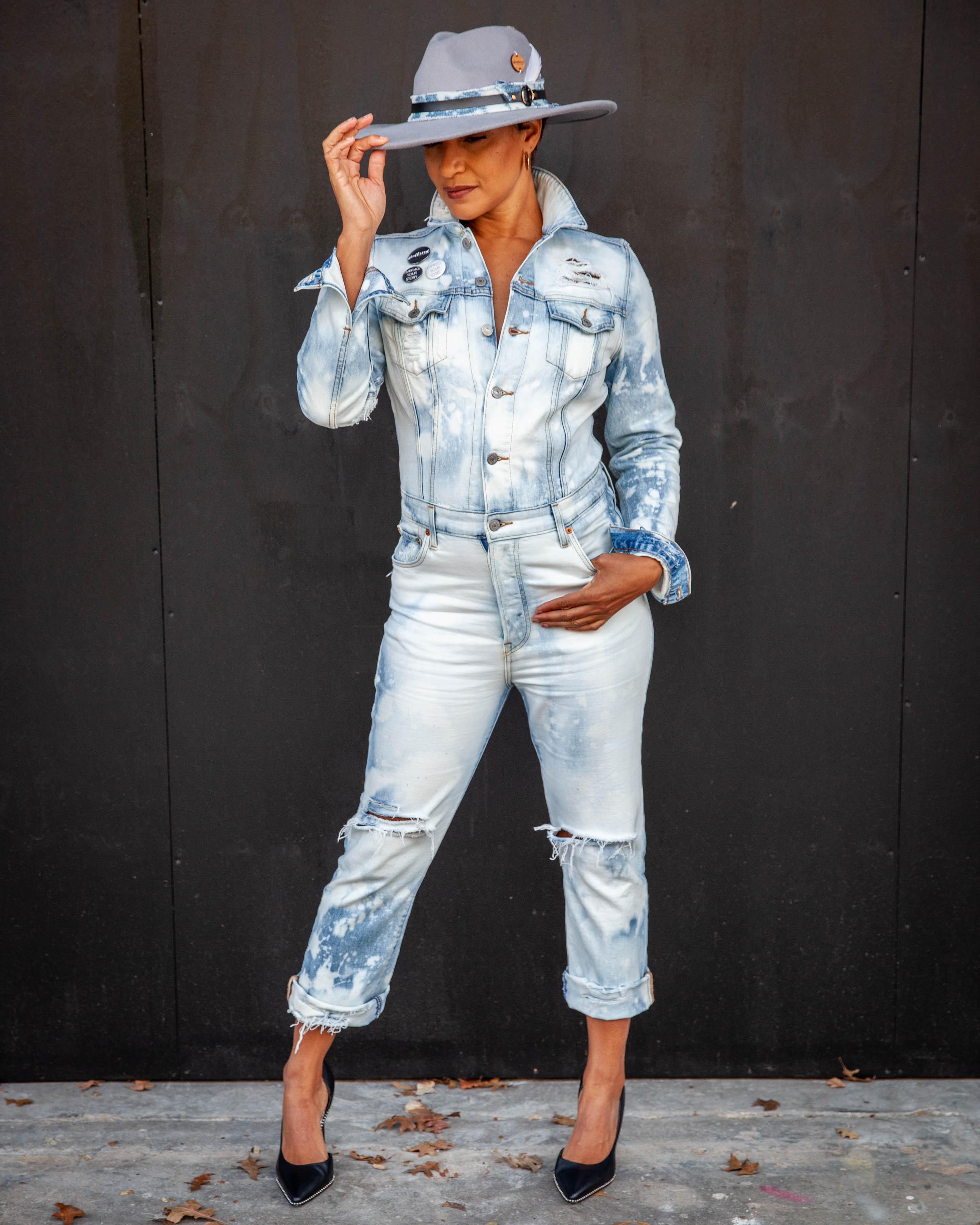 """The Cherise"" Custom Weathered Denim Jumpsuit"