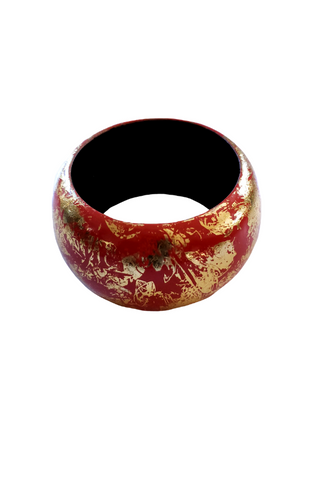 Indian Red and Gold Wooden Bangle