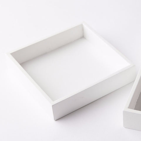 White Laquer Beverage Napkin Holder