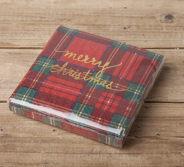 Merry Christmas Beverage Napkin in Gold Foil on Red Plaid
