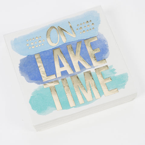 On Lake Time on watercolor stripe, Beverage Napkin
