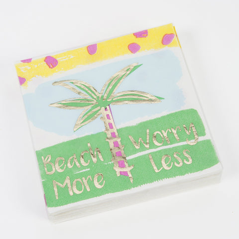 Beach More Worry Less watercolor, Beverage Napkin