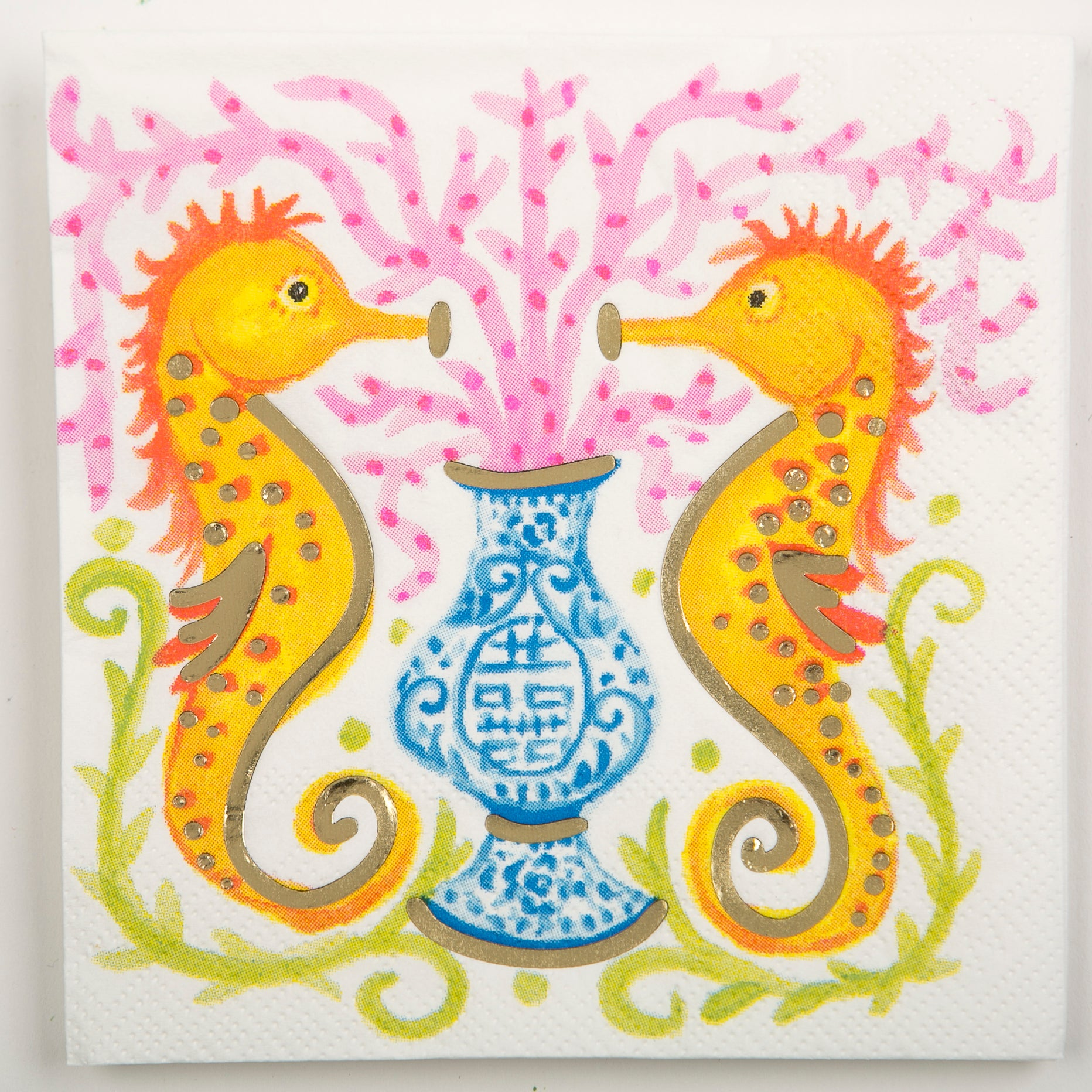 Beverage Napkin - Seahorse Watercolor by TomTom