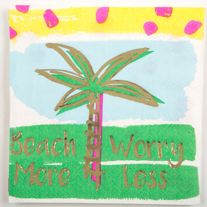 Beverage Napkin - Beach More Worry Less
