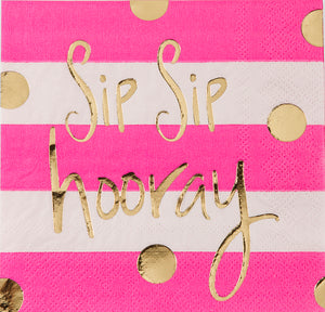 Beverage Napkin - Sip Sip Hooray!