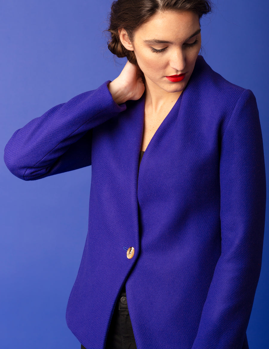 The Kenzie Draped Blazer - Admiral Blue