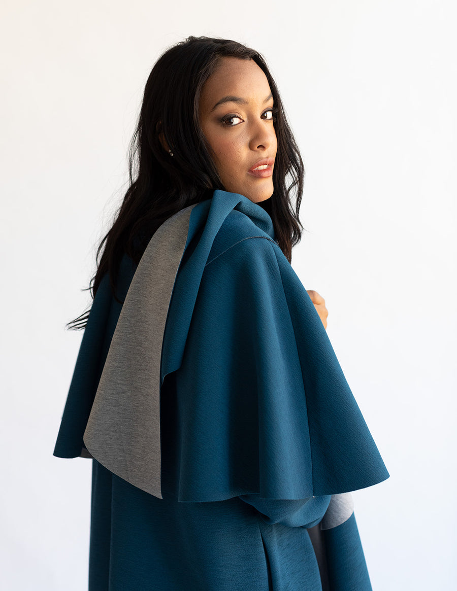 The Walton Ruffle Coat - Lapis