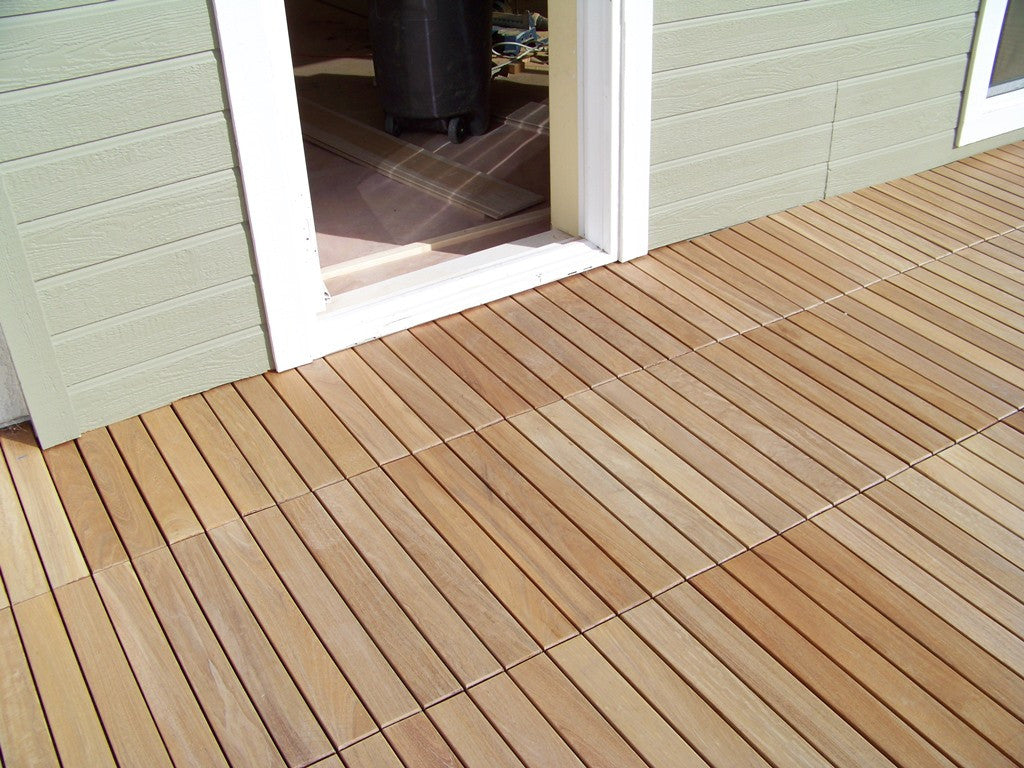 Eco decking tiles premium interlocking teak deck tile