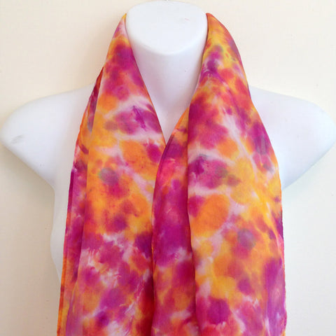 "Golds & Reds Tie-Dye Silk Scarf - 14"" x 70"" (clearance)"