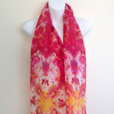 "Reds & Gold Tie-Dye Silk Scarf - 11"" x 57"" (clearance)"