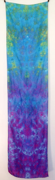 "Purple To Green Tie-Dye Silk Scarf - 15"" x 57"""