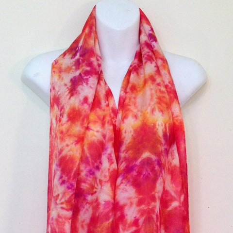 "Reds & Golds Tie-Dye Silk Scarf - 14"" x 70"" (clearance)"