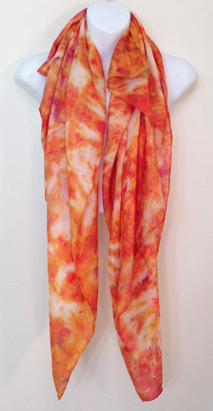 "Golden Tie-Dye Silk Scarf - 45"" x 42"" (clearance)"
