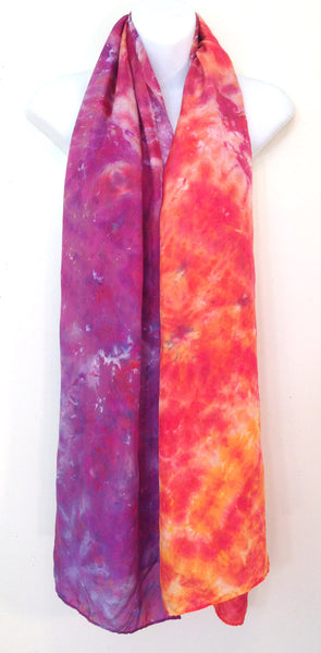 "Oranges & Purples Tie-Dye Silk Shawl - 21"" x 69"" (clearance)"