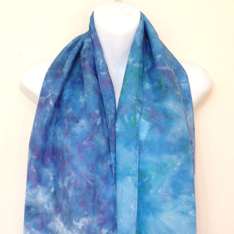 Blues Tie-Dye Silk Scarf