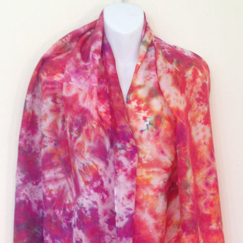 "Reds & Purples Tie-Dye Silk Shawl - 22"" x 87"" (clearance)"