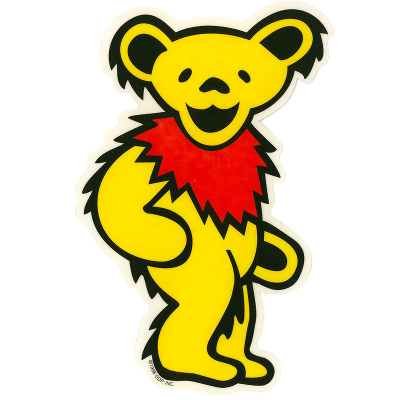 Dancing Bear - Yellow die-cut decal