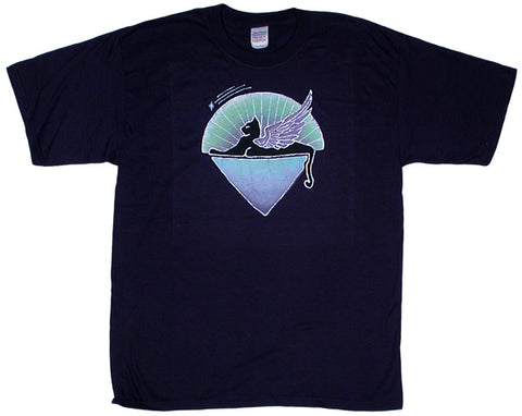 Winged Cat navy T-shirt